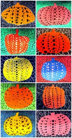 Pumpkins in the style of famous Japanese 'dot' artist Yayoi Kusama. Translate button available in the post from the Plastiquem blog.