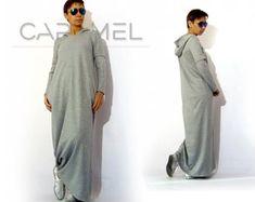 Sweatshirt dress, Long Sleeve Dress, Hooded Dress, Maxi Dress, Woman's Winter Dress, Side Pockets Dress, Kaftan Dress by CARAMELfs D6615