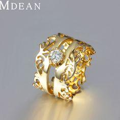 Mdean gold filled anillos corona grande al por mayor de moda de lujo de oro rey roca bague, mujeres accesorios bijouterie, 18kr016