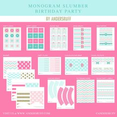 Monograma Slumber Party Girl adolescente por arpartyprintables