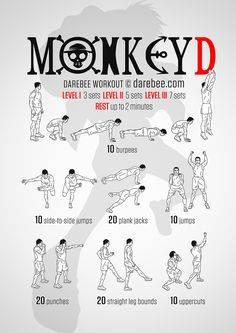 Monkey D Workout - Marissa Hero Workouts, Gym Workouts, At Home Workouts, Yoga Fitness, Physical Fitness, Nerd Fitness, Fitness Motivation, Superhero Workout, Mma Workout