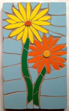 Two gerberas flower mosaic wall hanging Mosaic Wall, Mosaic Glass, Mosaic Tiles, Mosaic Flower Pots, Mosaic Garden, Mosaic Pictures, Glass Artwork, Mosaic Crafts, Fused Glass Art