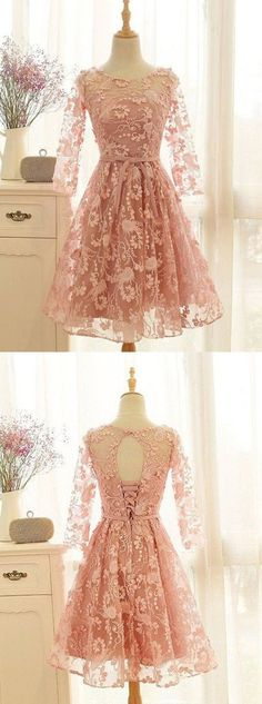 a37e094875 A-Line Crew Knee-Length 3 4 Sleeves Open Back Lace-Up Pink Lace Homecoming  Dress