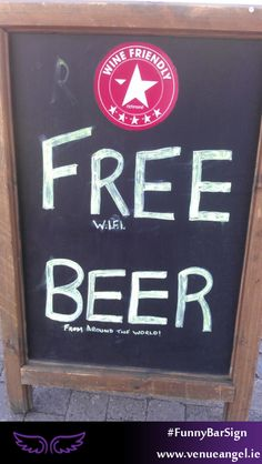 Free Beer - Funny Bar Signs Found All Over the World www. Funny Bar Signs, Pub Signs, Name Signs, Beer Humor, Beer Funny, Free Beer, Funny Names, Alcohol, Graham