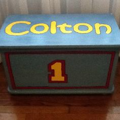 Thomas the Train inspired toy box for boy's room.