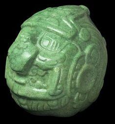 Jade sculpture of deity (550–650 AD); Altun Ha, Belize, Jadeite; National Institute of Culture and History, Belize. Photo: National Institute of Culture and History, Belize