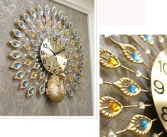 Exquisite Gold Peacock-shaped Decorative Wall Clocks