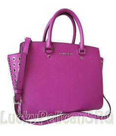 Michael Kors LG Selma Grommet TopZip Satchel Pink Fuschia Saffiano Leather NWT