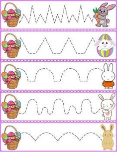 Trace The Pattern: Bunnies & Baskets Line Tracing Worksheets, Abc Tracing, Easter Worksheets, Kindergarten Worksheets, Preschool Activity Sheets, Toddler Learning Activities, Easter Activities, Farm Animals Preschool, Preschool Crafts