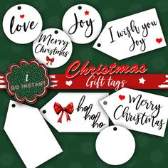 Christmas Instant Download Gift Tags Merry Christmas Joy Love Hohoho Santa gift present personalization print both sizes digital I wish you