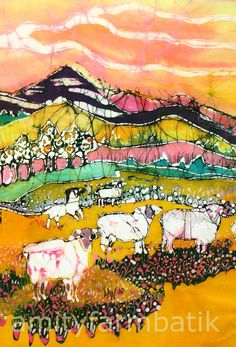 Sheep on Sunny Summer Day  detail 1  print from by amityfarmbatik, $16.00