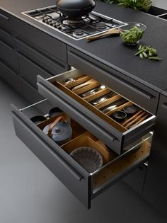 Browse photos of modern kitchen designs. Discover inspiration for your minimalis… Browse photos of modern kitchen designs. Discover inspiration for your minimalist kitchen remodel or upgrade with ideas for storage, organization, layout and decor. Modern Kitchen Interiors, Modern Kitchen Cabinets, Modern Kitchen Design, Interior Design Kitchen, New Kitchen, Kitchen Decor, Kitchen Ideas, Gray Cabinets, Kitchen Walls
