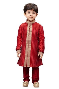 2ec488770 Vastramay Boy s Cotton Silk Embroidered Kurta and Pyjama Set in Maroon