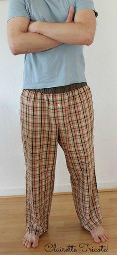 pantalon de pyjama homme tissu Burberry/ Men's pajama pants Burberry fabric, by Clairette Tricote!