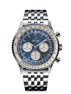 Discover the Breitling Navitimer 1 Chronograph 46 in a combination of Steel, Aurora Blue and Steel Navitimer. Find out more online. Breitling Navitimer, Breitling Superocean Heritage, Breitling Watches, Patek Philippe, Omega, Or Rouge, Junghans, Luxury Watches For Men, Metal Bracelets
