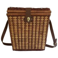 Picnic Basket With Shoulder Strap found on Polyvore featuring home, kitchen & dining, food storage containers, baskets & boxes, picnic box, picnic tote, picnic basket and picnic hamper