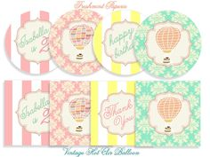 Printable party circles vintage hot air by FreshmintPaperie