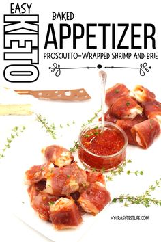 Prosciutto-Wrapped Shrimp is an easier version of everyone's favourite Bacon-Wrapped Shrimp appetizer! By swapping out a couple of ingredients, these delicious keto appetizers can be made for a quick weeknight dinner or for any game day or any Holiday. What could be better than shrimp wrapped in bacon, you ask? Shrimp wrapped in prosciutto with a sweet and spicy jam and a rich and creamy slice of brie! Shrimp Appetizers, Low Carb Appetizers, Shrimp Dishes, Yummy Appetizers, Seafood Recipes, Keto Recipes, Sweet And Spicy Shrimp, How To Cook Shrimp, Bacon Wrapped