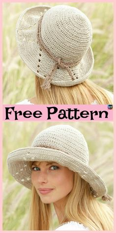 15 Amazing Crocheted Sun Hat Free Patterns The project we will be showing you for this post is this wonderful crocheted sun hat! It is very beautiful, and it is quite simple to crochet. Crochet Adult Hat, Crochet Summer Hats, Mode Crochet, Crochet Girls, Crochet Woman, Crochet Beanie, Knit Or Crochet, Crochet Crafts, Crochet Baby