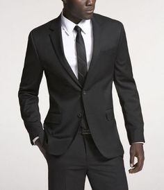 Wool Fitted Suit - Black; 40R