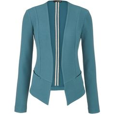 maurices Blazer With Textured Fabric ($33) ❤ liked on Polyvore featuring outerwear, jackets, blazers, dusty peacock, long jacket, blue jackets, maurices, polka dot blazer and textured jacket