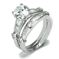 Sterling Silver Round Cut CZ Diamond Engagement Wedding Ring Set 2ct