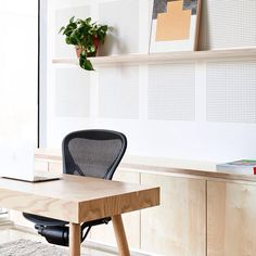 """""""The pure and elemental aesthetic of the Kiyo desk combines solid American Oak legs with a veneer carcass and drawers in the Wolfdene project by…"""""""