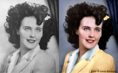 Elizabeth Short aka The Black Dahlia, murdered Jan 1947.  Before and after colorization by Louise Baranoski.