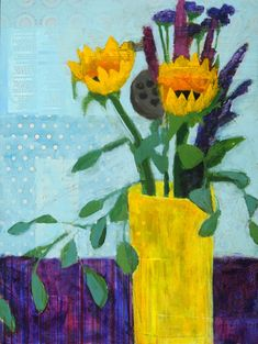 "<b>sunflowers</b><br>mixed media on board<br>16"" x 12""<br><b>sold</b> : sold artwork : laurie breen--contemporary still-life and figurative paintings & art for children's spaces"
