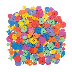 "Shaped Buttons. Button up your crafts from scrapbooking to beading and more, or sew on new fun fashion statements with these colorful plastic buttons! Includes a variety of fun shapes, sizes and colors including purple, green, red, yellow, orange and blue. With 300 buttons, you'll have plenty for all your projects or to share with all your friends! (300 pcs. per unit) 3/8"" - 1"" x 3/8"" - 1"" © OTC"