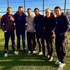 Jamie with friends including pro golfer Rory McIlroy (far right).