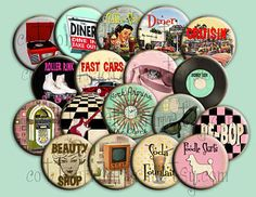 Fabulous Fifties Pin Back Buttons for Party by Cottonfieldfarm,