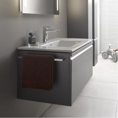 860965.480.104 Laufen Pro S 1000mm Wall hung Vanity Unit and 1TH Basin Graphite