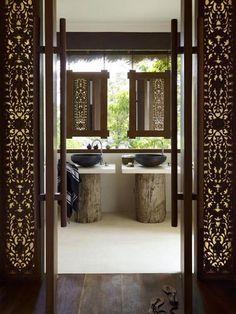 25 Best Asian Bathroom Design Ideas - modern bathroom design in asian style - Asian Bathroom, Open Bathroom, Bathroom Vanities, Balinese Bathroom, Wood Bathroom, Tropical Bathroom, Master Bathroom, Tranquil Bathroom, Bohemian Bathroom