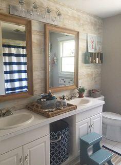 Nautical Bathroom ideas including a faux plank wall