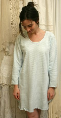 0d73c4f8ca BABY BLUE Nightgown Long Sleeve Short Cotton Gown Glacier Blue by  simplepjs