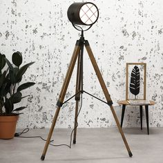 The industrial floor lamp Payson is a beautiful lamp for your interior. The industrial lamp with three legs stands very sturdy and solid in your chosen space. It is a very cheap tripod lamp and in Sale now! Industrial Floor Lamps, Industrial Ceiling Lights, Industrial Dining Chairs, Cement Design, Drop Lights, Modern Bar Stools, Tripod Lamp, Beautiful Lights, Interior Styling