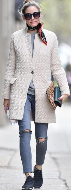 Olivia Palermo in Purse – AerinCoat – Max & Co.Shoes – NikeSunglasses = PerverseJeans – Black OrchidScarf – Banana Republic