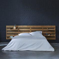 Headboard for bed made of teak 270 Urbain Tikamoon Home Bedroom, Bedroom Furniture, Diy Furniture, Master Bedroom, Diy Pillows, Sofa Pillows, Double Headboard, Cheap Diy Headboard, Headboard Ideas