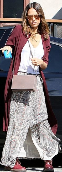 Who made  Jessica Alba's red boots, red coat, and printed maxi skirt?