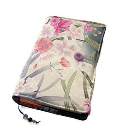 Large Bible Cover Orchids in Moonlight Silk by WhimsyWooDesigns