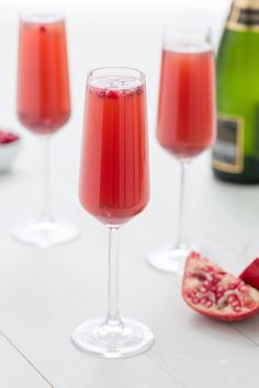 A few splashes of sweet-tart pomegranate juice goes a long way with champagne. Complete the look with plenty of seeds.    - Delish.com