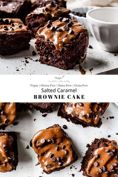 A decadent, rich, chocolate brownie cake recipe that is light and moist topped with a creamy, dairy-free salted cacao ca Eggless Desserts, Healthy Vegan Desserts, Vegan Dessert Recipes, Vegan Sweets, Brownie Recipes, Cake Recipes, Healthier Desserts, Delicious Desserts, Dairy Free Chocolate