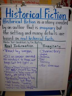 Historical Fiction anchor chart- Dandelions By: Eve Bunting Library Lessons, Reading Lessons, Reading Strategies, Reading Skills, Teaching Reading, Guided Reading, Learning, Genre Lessons, Teaching Ideas