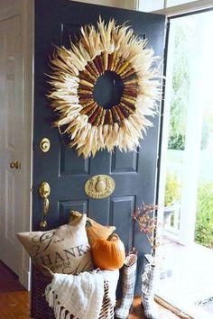 Dried Corn Wreath - 30 DIYs To Get You In The Fall Spirit - Photos
