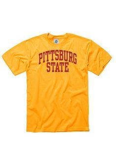 Pitt State Gorillas T-Shirt - Gold Pitt State Arch Short Sleeve Tee http://www.rallyhouse.com/psu-gorillas-mens-gold-arch-short-sleeve-tee-22780126?utm_source=pinterest&utm_medium=social&utm_campaign=Pinterest-PSUGorillas $14.95