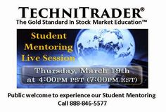 """""""ANALYSIS OF CURRENT MARKET CONDITION AND HOW TO TRADE IT"""" Webinar - Public invited to experience TechniTrader Student Mentoring with Martha Stokes CMT. Candlestick Patterns & Scans live analysis for best Trading Styles and Techniques in current Market Condition. Relational Analysis of stock charts."""