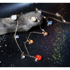 Long Solar System Galaxy Necklace - Elegant, Unique Space Jewelry - Gold or Sterling Silver - Planets, Sun, Earth, Milky Way - Chain Piercings, Space Jewelry, Moon Necklace, Pendant Necklace, Gold Pendant, Sterling Silver Necklaces, Silver Jewelry, Silver Ring, Jewlery