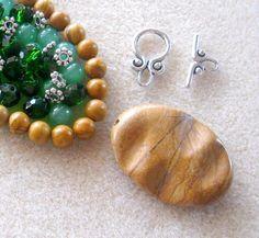 Wood Jaser Pendant Scenic Jasper Beads by CatsBeadKitsandMore