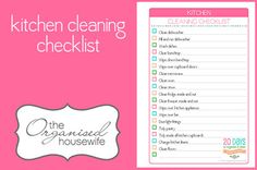 The Organised Housewife '20 Days to Organise & Clean your blog challenge' Kitchen Cleaning Checklist